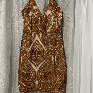 Gold and nude dress